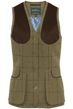Alan Paine Womens Combrook Tweed Shooting Waistcoat - Lotus